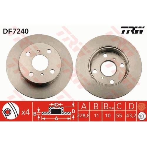 Brake Disc TRW DF7240 TOYOTA