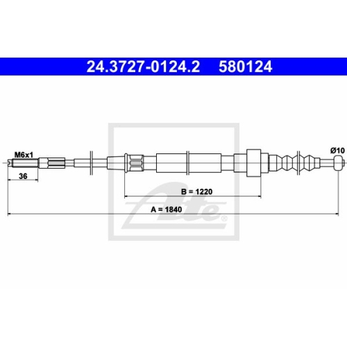 ATE Cable, parking brake 24.3727-0124.2
