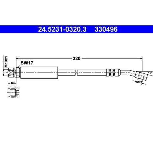 Brake Hose ATE 24.5231-0320.3 OPEL VAUXHALL