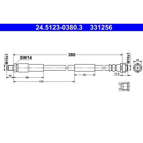 Brake Hose ATE 24.5123-0380.3 MERCEDES-BENZ