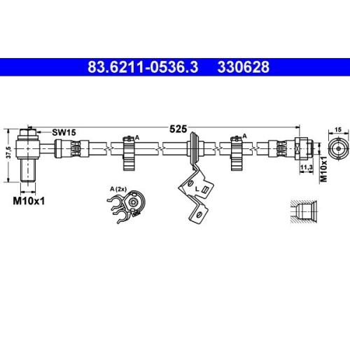 Brake Hose ATE 83.6211-0536.3 MERCEDES-BENZ