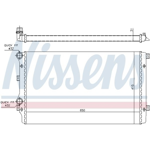 Kühler, Motorkühlung NISSENS 65280A AUDI SEAT SKODA VW