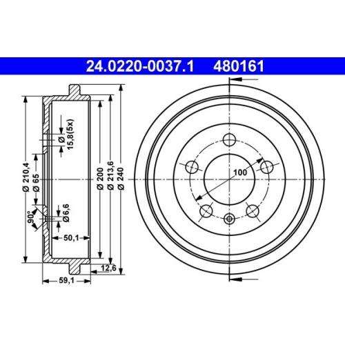 ATE Bremstrommel 24.0220-0037.1