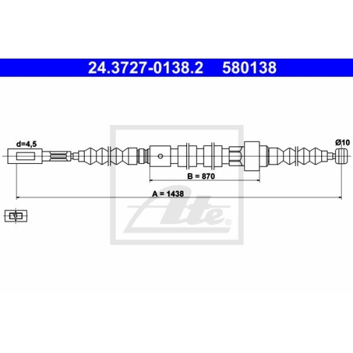 ATE Cable, parking brake 24.3727-0138.2
