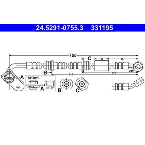 Brake Hose ATE 24.5291-0755.3 SUZUKI