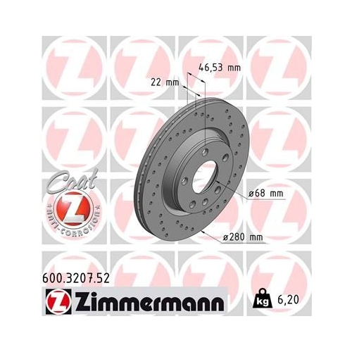 ZIMMERMANN Brake Disc 600.3207.52