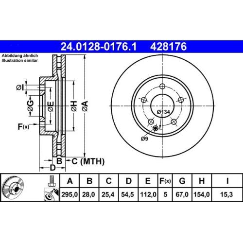 Bremsscheibe ATE 24.0128-0176.1 MERCEDES-BENZ