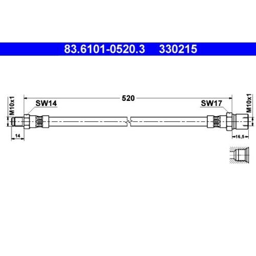 Brake Hose ATE 83.6101-0520.3 PORSCHE