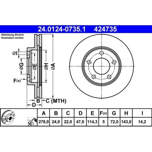Brake Disc ATE 24.0124-0735.1 FORD MAZDA
