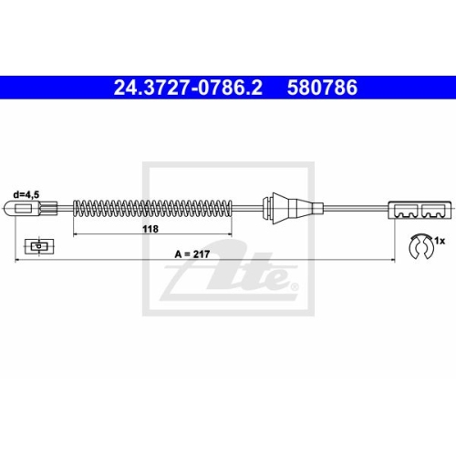 ATE Cable, parking brake 24.3727-0786.2