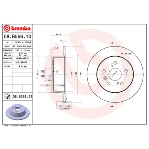 Bremsscheibe BREMBO 08.B566.11 COATED DISC LINE TOYOTA