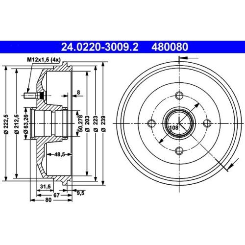 Brake Drum ATE 24.0220-3009.2 FORD