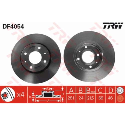 TRW Brake Disc DF4054