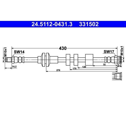 ATE Schlauchleitung 24.5112-0431.3