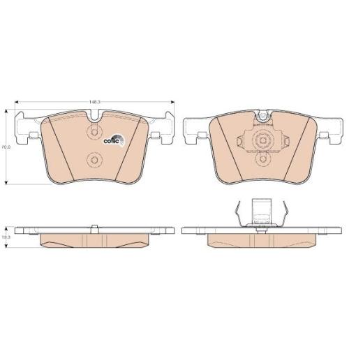 Brake Pad Set, disc brake TRW GDB1942 COTEC BMW