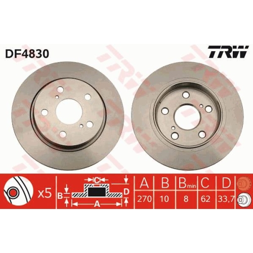 Brake Disc TRW DF4830 TOYOTA