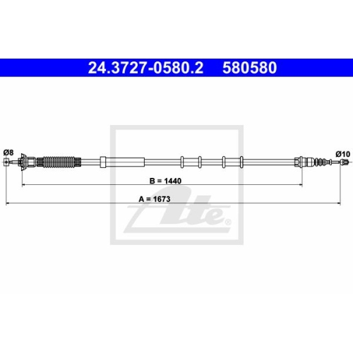 ATE Cable, parking brake 24.3727-0580.2
