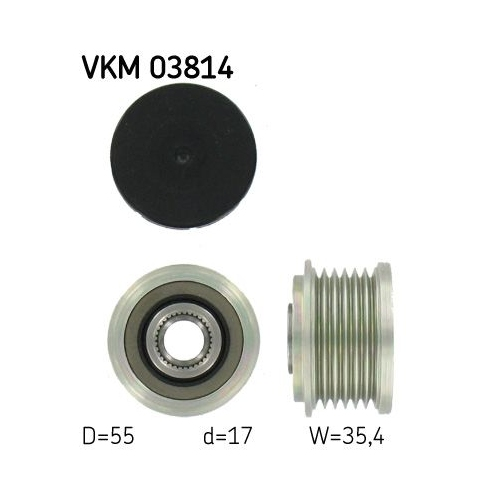 Alternator Freewheel Clutch SKF VKM 03814 MERCEDES-BENZ