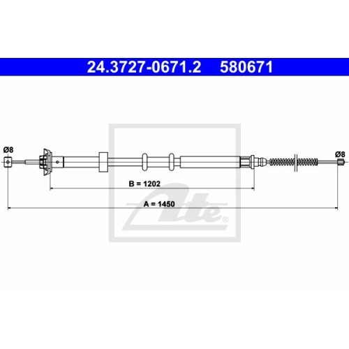 ATE Cable, parking brake 24.3727-0671.2