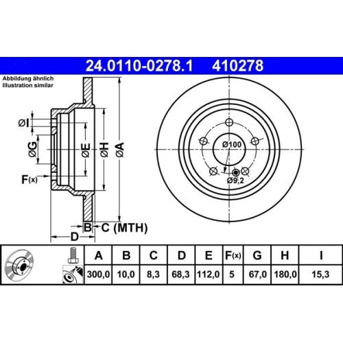 Bremsscheibe ATE 24.0110-0278.1 MERCEDES-BENZ