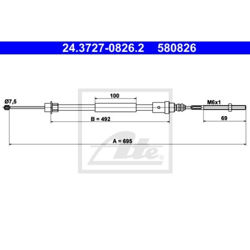 ATE Cable, parking brake 24.3727-0826.2