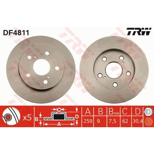 Brake Disc TRW DF4811 TOYOTA