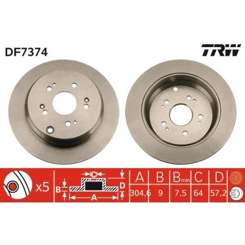 TRW Brake Disc DF7374
