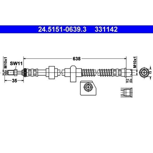 Brake Hose ATE 24.5151-0639.3 CITROËN PEUGEOT
