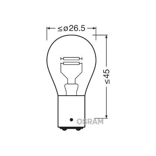 Incandescent lightbulb OSRAM P21 / 4W 21 / 4W / 12V socket embodiment: BAZ15d (7225)