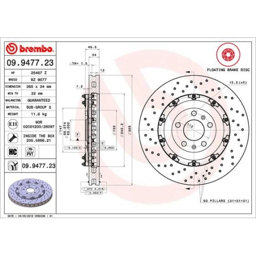 Bremsscheibe BREMBO 09.9477.23 TWO-PIECE FLOATING DISCS LINE AUDI