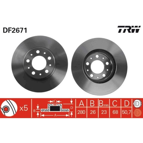 Brake Disc TRW DF2671 VOLVO