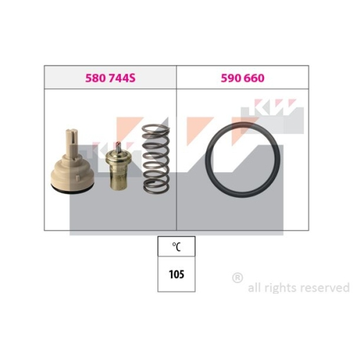 Thermostat, coolant KW 580 744 Made in Italy - OE Equivalent AUDI SEAT SKODA VW