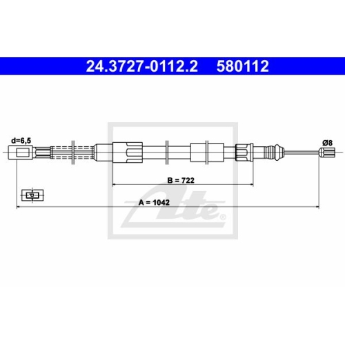 ATE Cable, parking brake 24.3727-0112.2