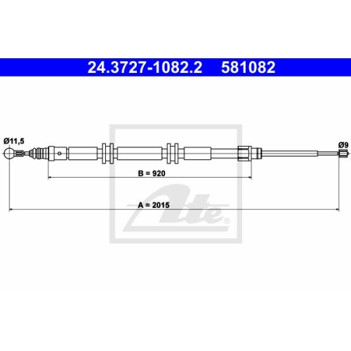 ATE Cable, parking brake 24.3727-1082.2