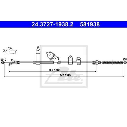 ATE Cable, parking brake 24.3727-1938.2