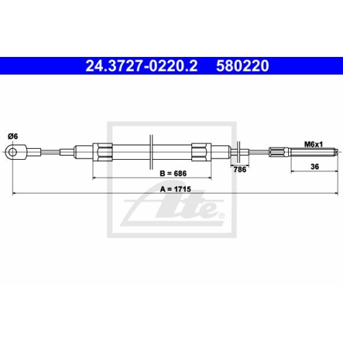 ATE Cable, parking brake 24.3727-0220.2