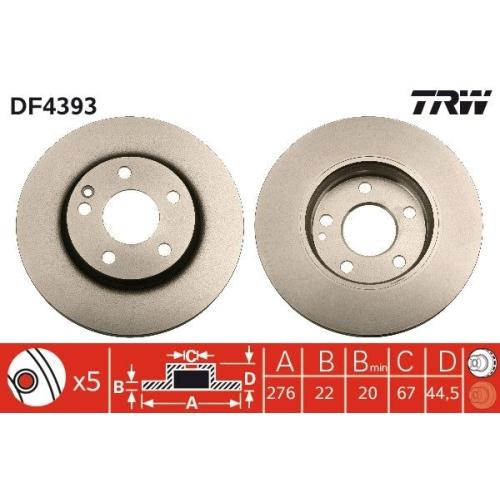 TRW Brake Disc DF4393
