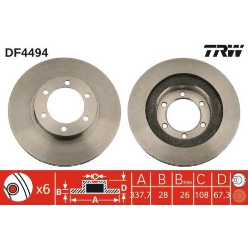 Brake Disc TRW DF4494 TOYOTA LEXUS TOYOTA (FAW)