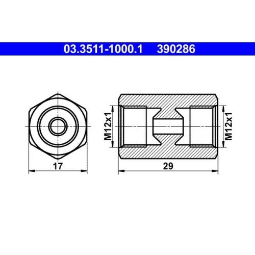 Adapter, Bremsleitung ATE 03.3511-1000.1 BUESSING HANOMAG HENSCHEL KÄSSBOHRER