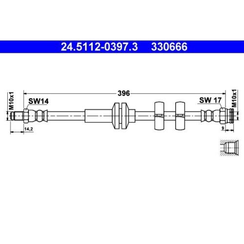 Brake Hose ATE 24.5112-0397.3 FIAT