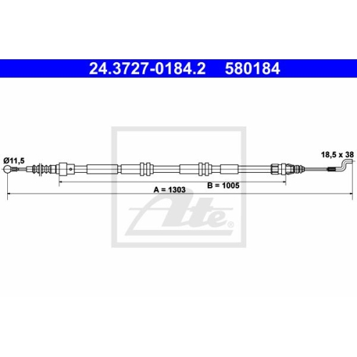 Cable, parking brake ATE 24.3727-0184.2 VAG