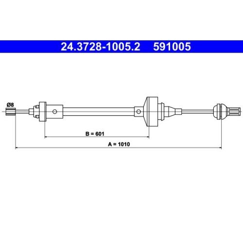 Seilzug, Kupplungsbetätigung ATE 24.3728-1005.2 RENAULT