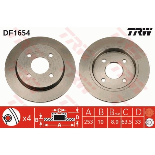 Brake Disc TRW DF1654 FORD AC TVR PANTHER