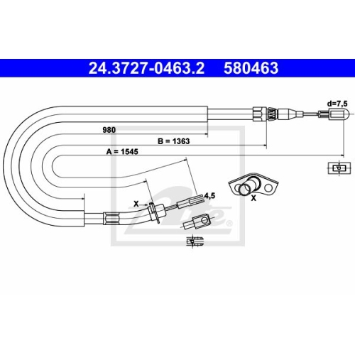ATE Cable, parking brake 24.3727-0463.2