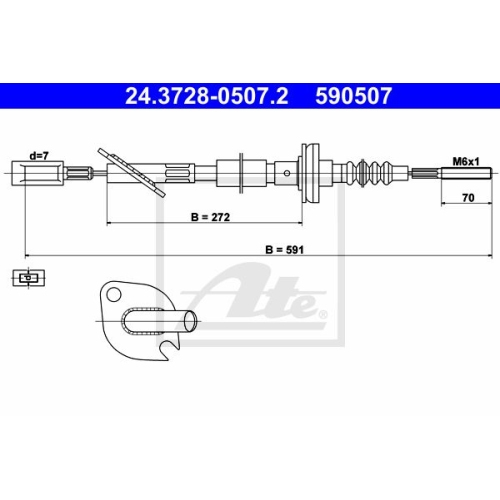 Clutch Cable ATE 24.3728-0507.2 FIAT