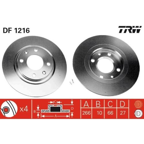 Brake Disc TRW DF1216 CITROËN PEUGEOT