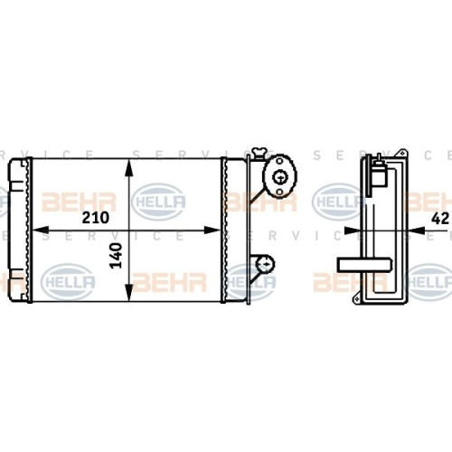 Wärmetauscher, Innenraumheizung HELLA 8FH 351 313-341 AUDI VW