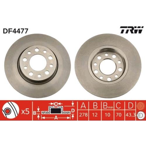 Brake Disc TRW DF4477 ALFA ROMEO FIAT JEEP