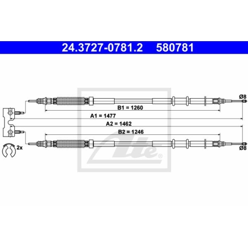 ATE Cable, parking brake 24.3727-0781.2