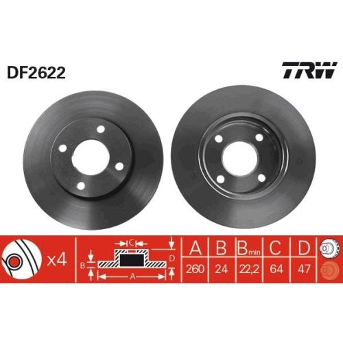 Brake Disc TRW DF2622 FORD